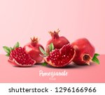 fresh ripe pomegranate with... | Shutterstock . vector #1296166966