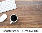 wood office desk table with...   Shutterstock . vector #1296169183