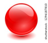 glass sphere  red 3d vector... | Shutterstock .eps vector #1296187810