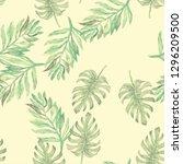 tropical seamless watercolour... | Shutterstock . vector #1296209500