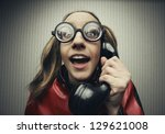 funny nerd humor woman talking... | Shutterstock . vector #129621008