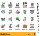 business icons including... | Shutterstock .eps vector #1296217936