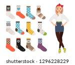 woman socks. female warm and...   Shutterstock .eps vector #1296228229