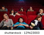group of boring people watching ... | Shutterstock . vector #129623003