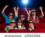 group of people in 3d glasses... | Shutterstock . vector #129623006
