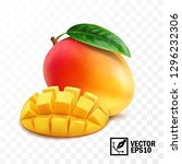 whole and pieces mango fruit... | Shutterstock .eps vector #1296232306
