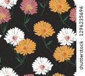 blossom floral seamless pattern ... | Shutterstock .eps vector #1296235696