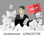 businessman needs help under a... | Shutterstock .eps vector #1296237739