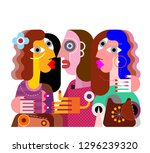twins girls  and their ugly... | Shutterstock .eps vector #1296239320