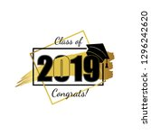 class of 2019. hand drawn brush ... | Shutterstock .eps vector #1296242620