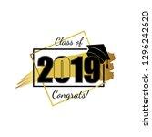 class of 2019. hand drawn brush ... | Shutterstock .eps vector #1296242620