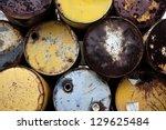 oil barrels. pile of old rusty... | Shutterstock . vector #129625484