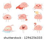 brain characters. cartoon... | Shutterstock .eps vector #1296256333