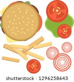 set of ingredients for burger... | Shutterstock .eps vector #1296258643
