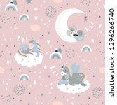 seamless childish pattern for... | Shutterstock .eps vector #1296266740