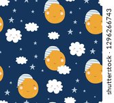 seamless childish pattern with... | Shutterstock .eps vector #1296266743