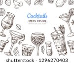 hand drawn cocktail background. ... | Shutterstock .eps vector #1296270403