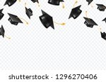 graduate caps flying. black... | Shutterstock .eps vector #1296270406