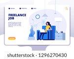 freelance concept. girl... | Shutterstock .eps vector #1296270430