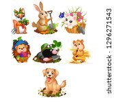 set of cute animals and harvest ... | Shutterstock .eps vector #1296271543