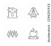 4 line cabin  forest  penguin ... | Shutterstock .eps vector #1296291913
