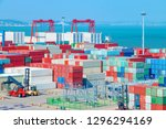 stack of containers box  cargo... | Shutterstock . vector #1296294169