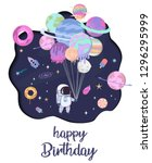 sweet space cartoon poster with ... | Shutterstock .eps vector #1296295999