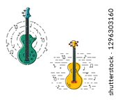 bass guitar and acoustic guitar ... | Shutterstock .eps vector #1296303160