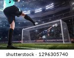 goalkeeper jumping for the ball ...   Shutterstock . vector #1296305740