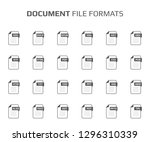 flat style icon set. document ... | Shutterstock .eps vector #1296310339