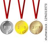 set of 2019 medals   Shutterstock .eps vector #1296313573