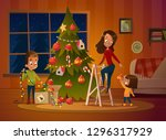 happy family mom and two... | Shutterstock . vector #1296317929