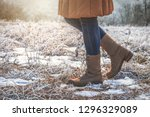 woman wearing leather hiking... | Shutterstock . vector #1296329089