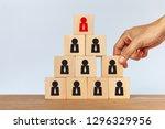hand arranging wooden cube... | Shutterstock . vector #1296329956