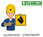 industrial worker is presenting ...   Shutterstock .eps vector #1296336649