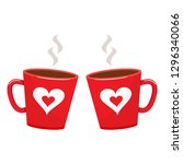 Two Cups With Hot Drink. Red...