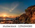 sunset on the rocks | Shutterstock . vector #1296344383