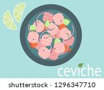 ceviche top view illustration.... | Shutterstock .eps vector #1296347710