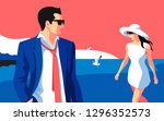 beach scene. resort holidays.... | Shutterstock .eps vector #1296352573