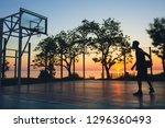 black man doing sports  playing ... | Shutterstock . vector #1296360493