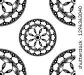 mandala pattern black and white. | Shutterstock .eps vector #1296363040