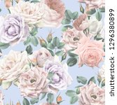 seamless floral pattern with... | Shutterstock . vector #1296380899
