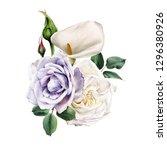 bouquet of roses  watercolor ... | Shutterstock . vector #1296380926