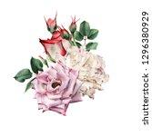 bouquet of roses  watercolor ... | Shutterstock . vector #1296380929