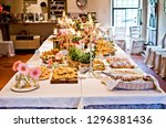 true buffet tables with canap s ... | Shutterstock . vector #1296381436