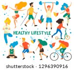 healthy lifestyle. different... | Shutterstock .eps vector #1296390916
