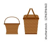 wicker willow picnic baskets.... | Shutterstock .eps vector #1296396463