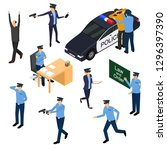 character policeman in uniform... | Shutterstock .eps vector #1296397390