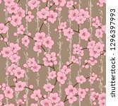 seamless cherry  sakura blossom ... | Shutterstock . vector #1296397993