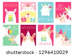 collection of birthday banner ... | Shutterstock .eps vector #1296410029